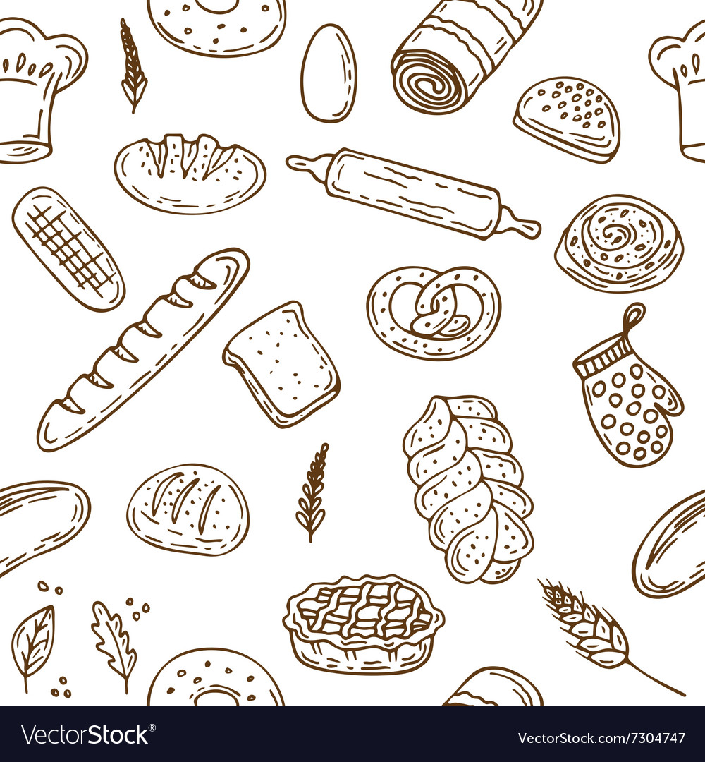 Bakery seamless pattern Hand drawn collection