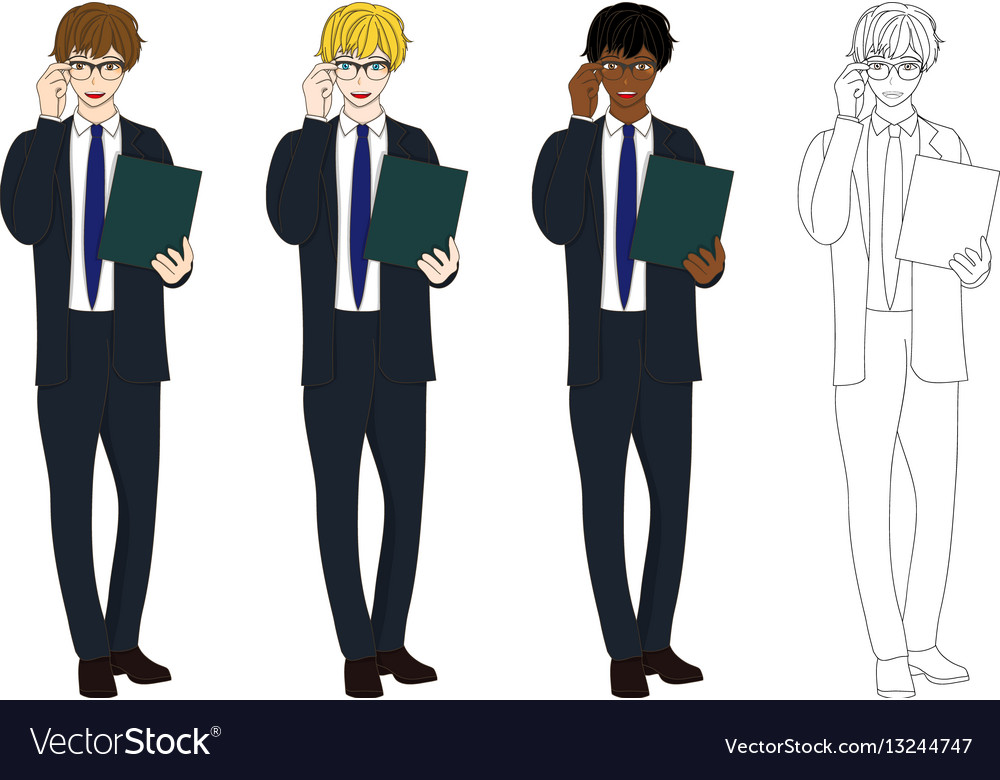 Business man glasses with document vector image