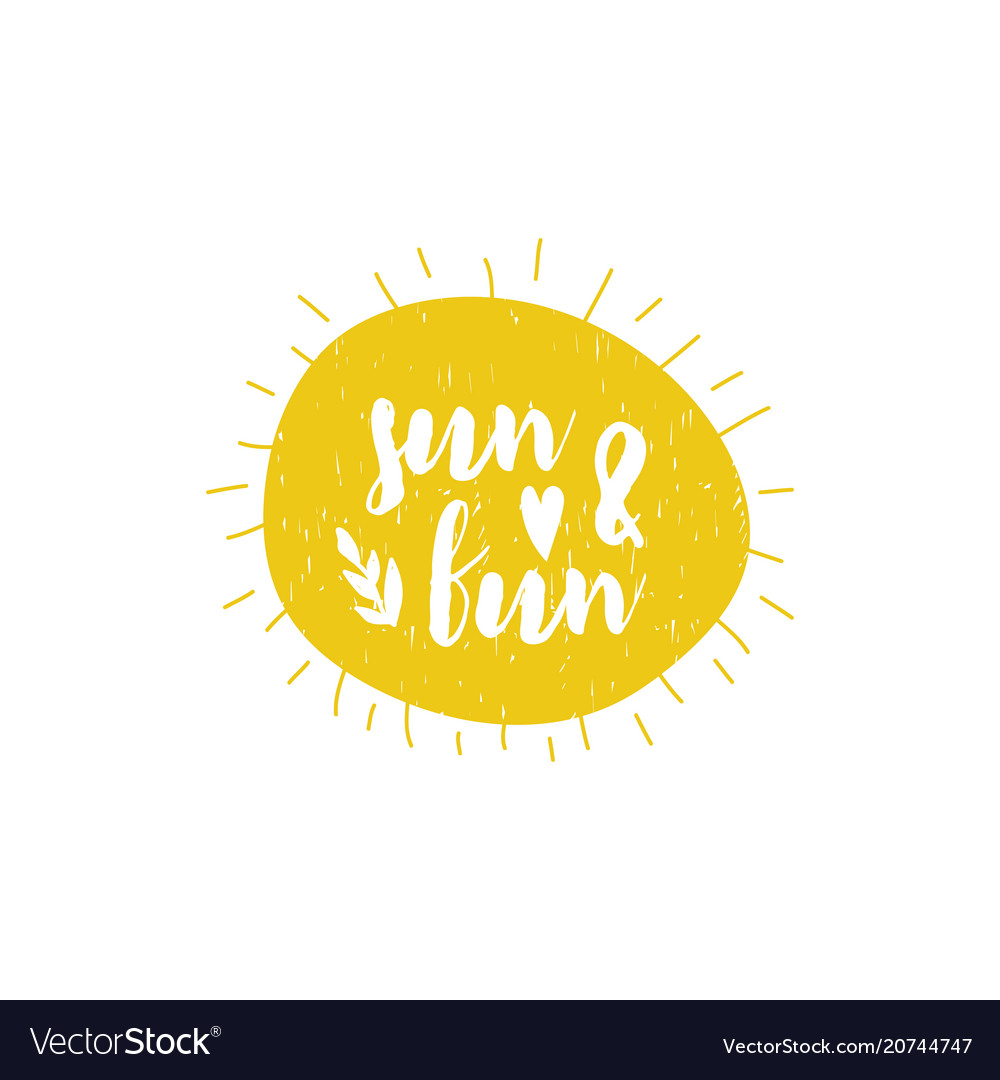 Card with cartoon lettering sun and fun
