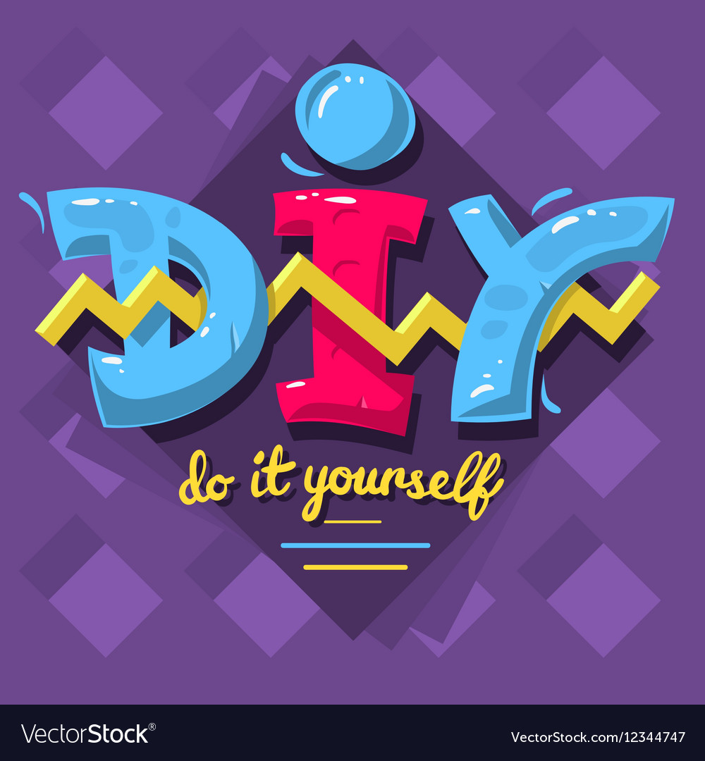 Diy acronym do it yourself 90 s vibrant colors vector image solutioingenieria Choice Image