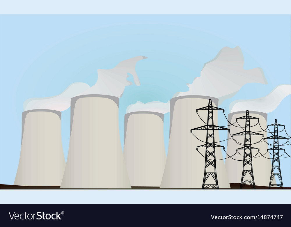 Nuclear power plants and electric towers