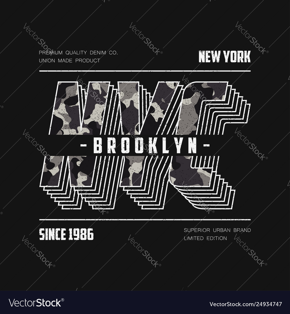 Nyc modern typography with camouflage texture