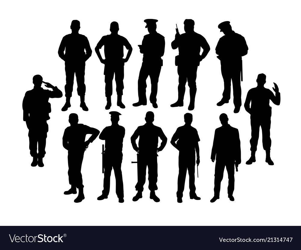 Police soldier silhouettes