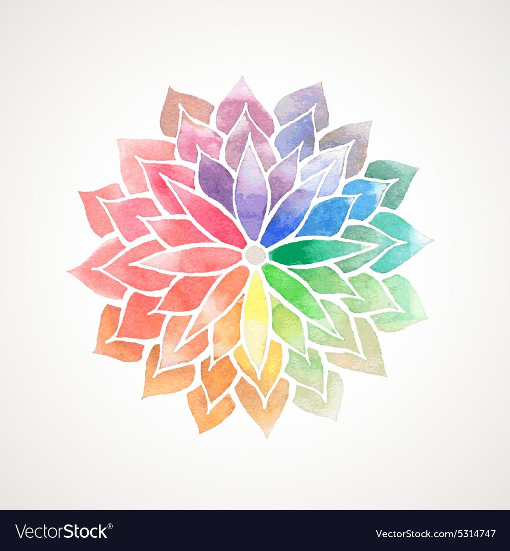 Rainbow watercolor painted flower