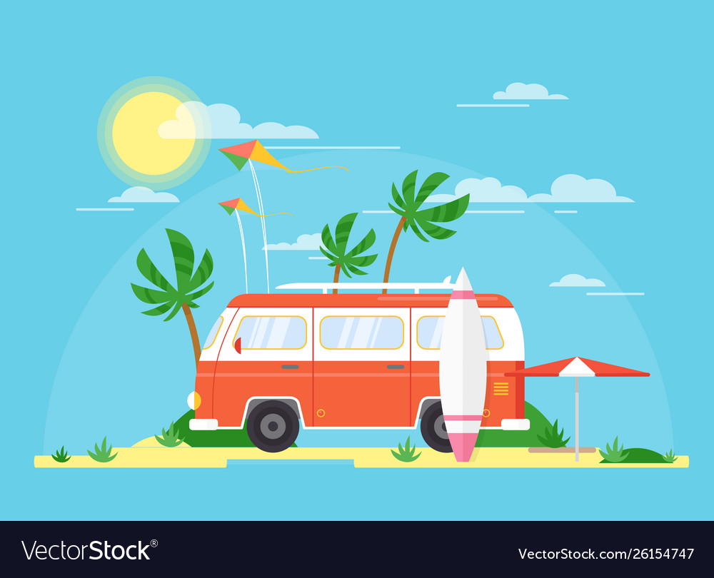 Surfing bus with a surfing