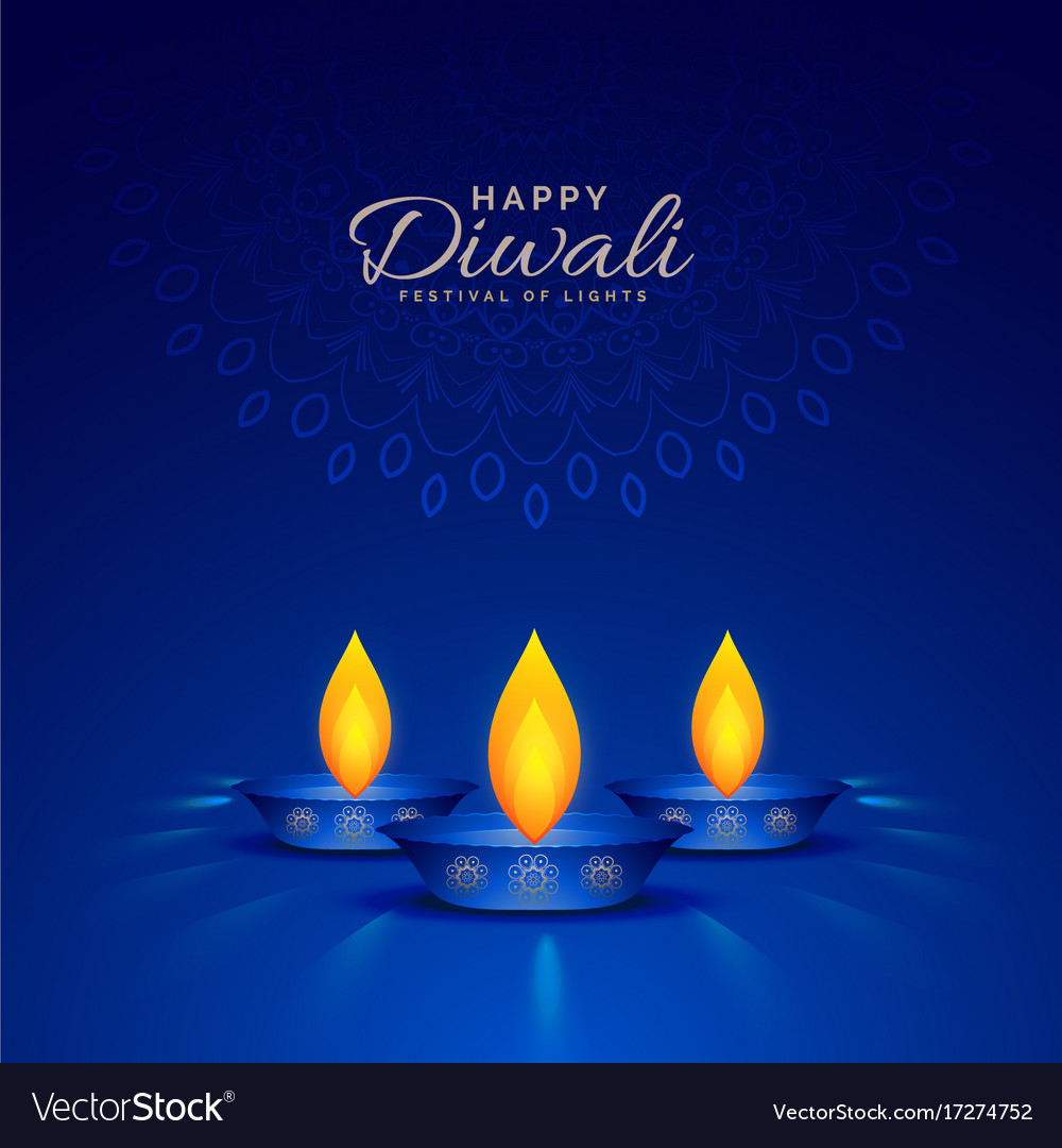 Burning diya on blue background for happy diwali