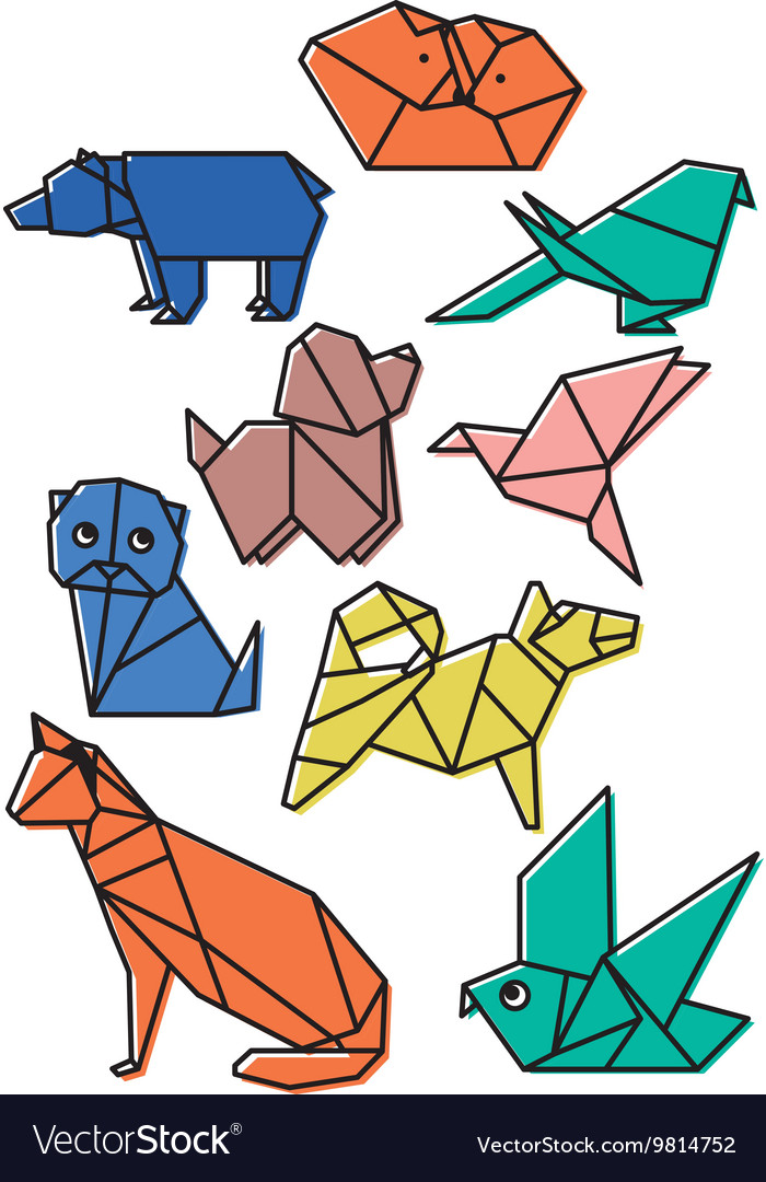 Cute origami animals pets set with dark lines and