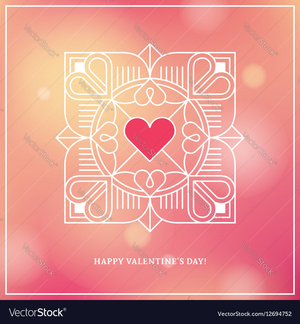 Design concept with linear heart frame on blurred vector image