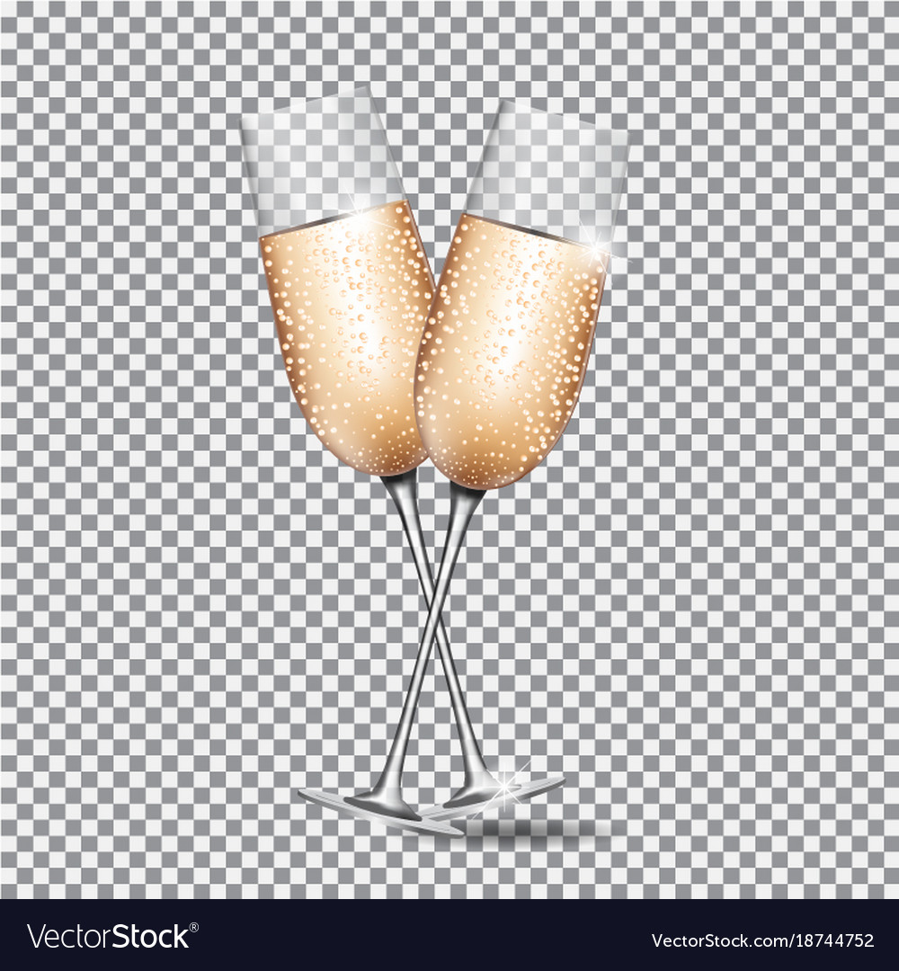 Glass of champagne on transparent background vector image