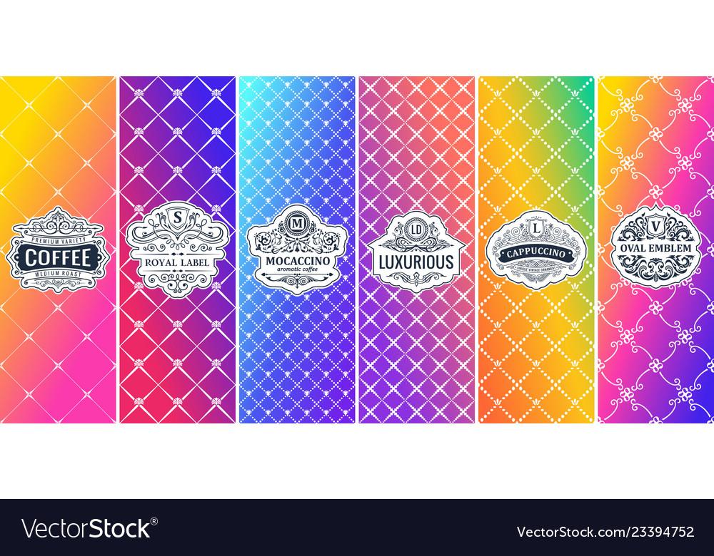 Label on color gradient background vintage logo