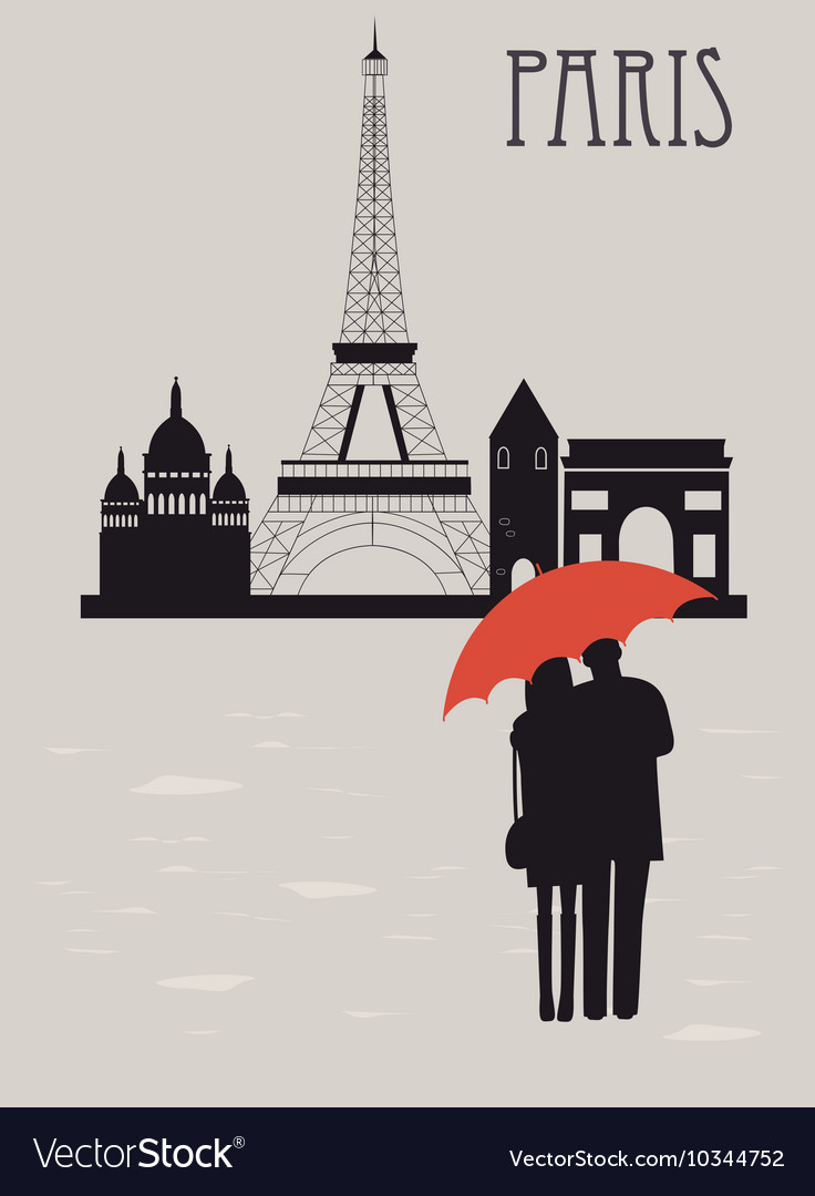 Man and woman with umbrella in paris