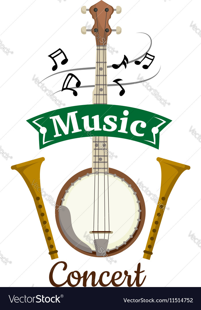 Music concert emblem with clef notes