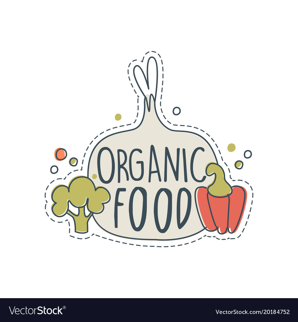 Organic Shop Logo Design Label For Healthy Food Vector Image