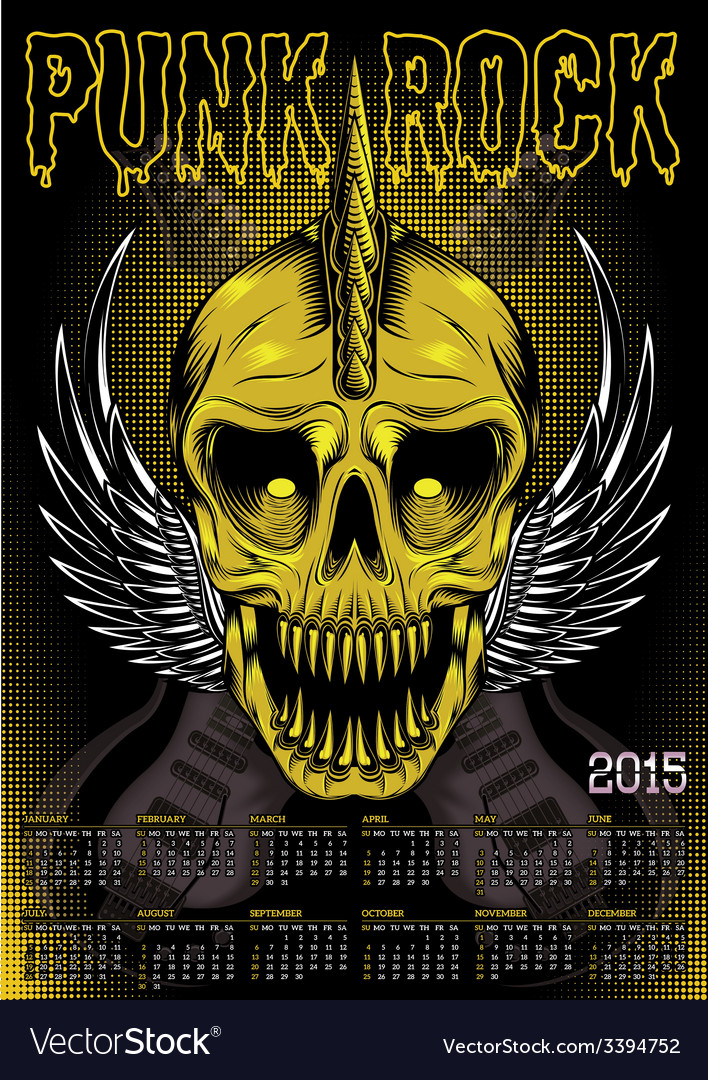 Poster skull and calendar for punk rock vector image