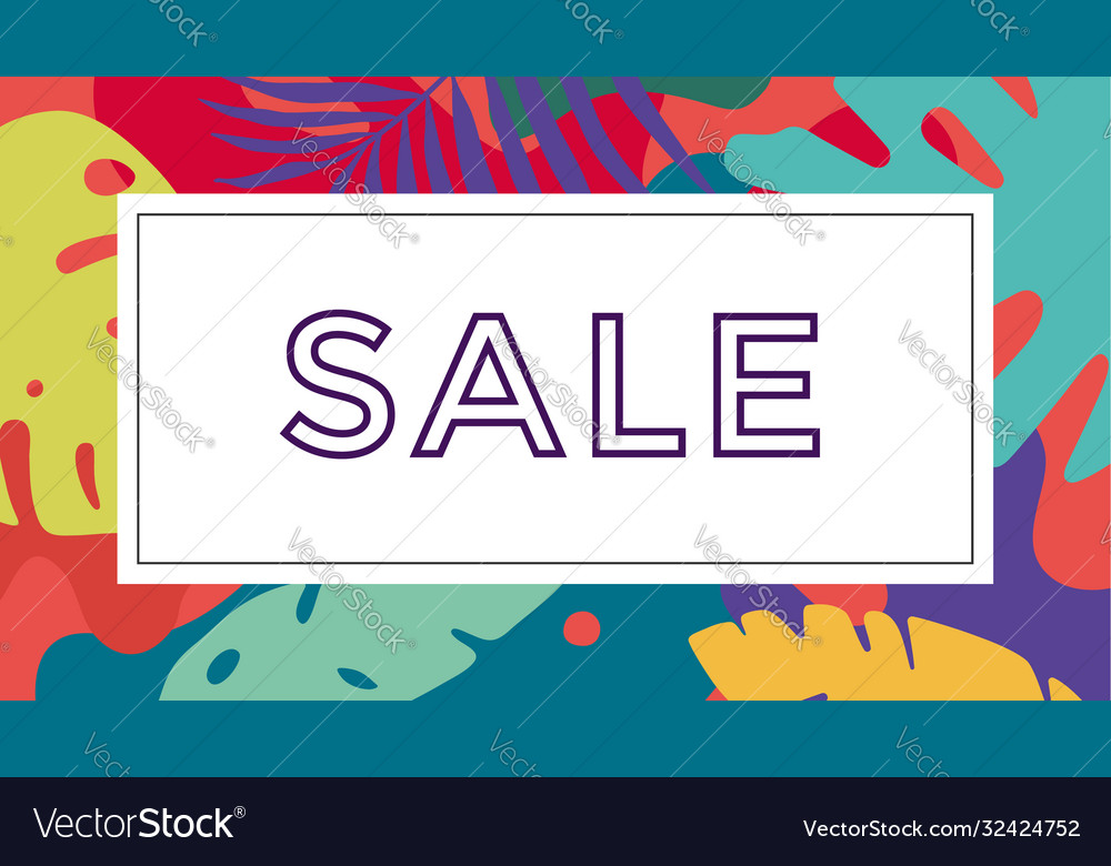 Sale tropical background in boho style