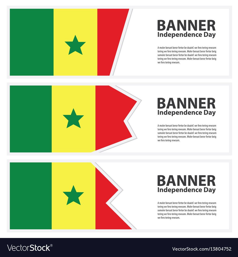 Senegal flag banners collection independence day