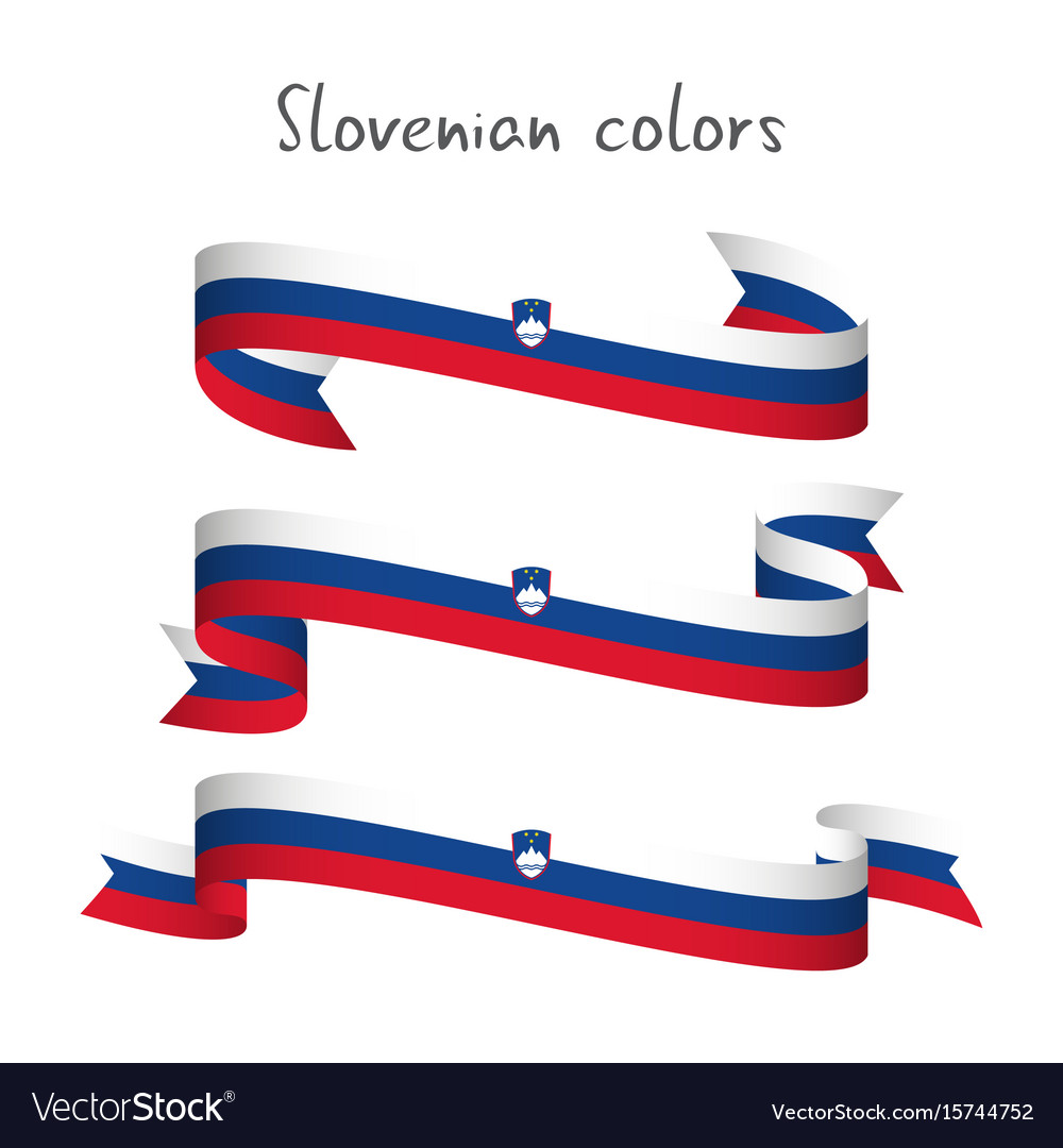 Set of three ribbons with the slovenian tricolor