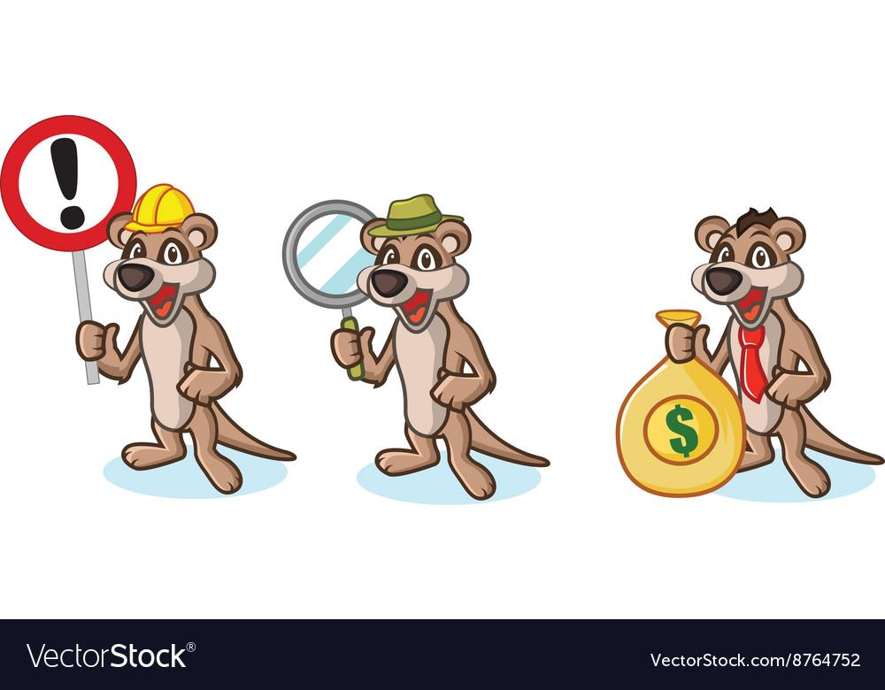 Tan Meerkat Mascot with money