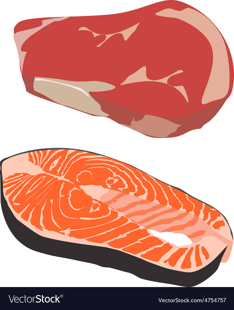 Beef and salmon steak