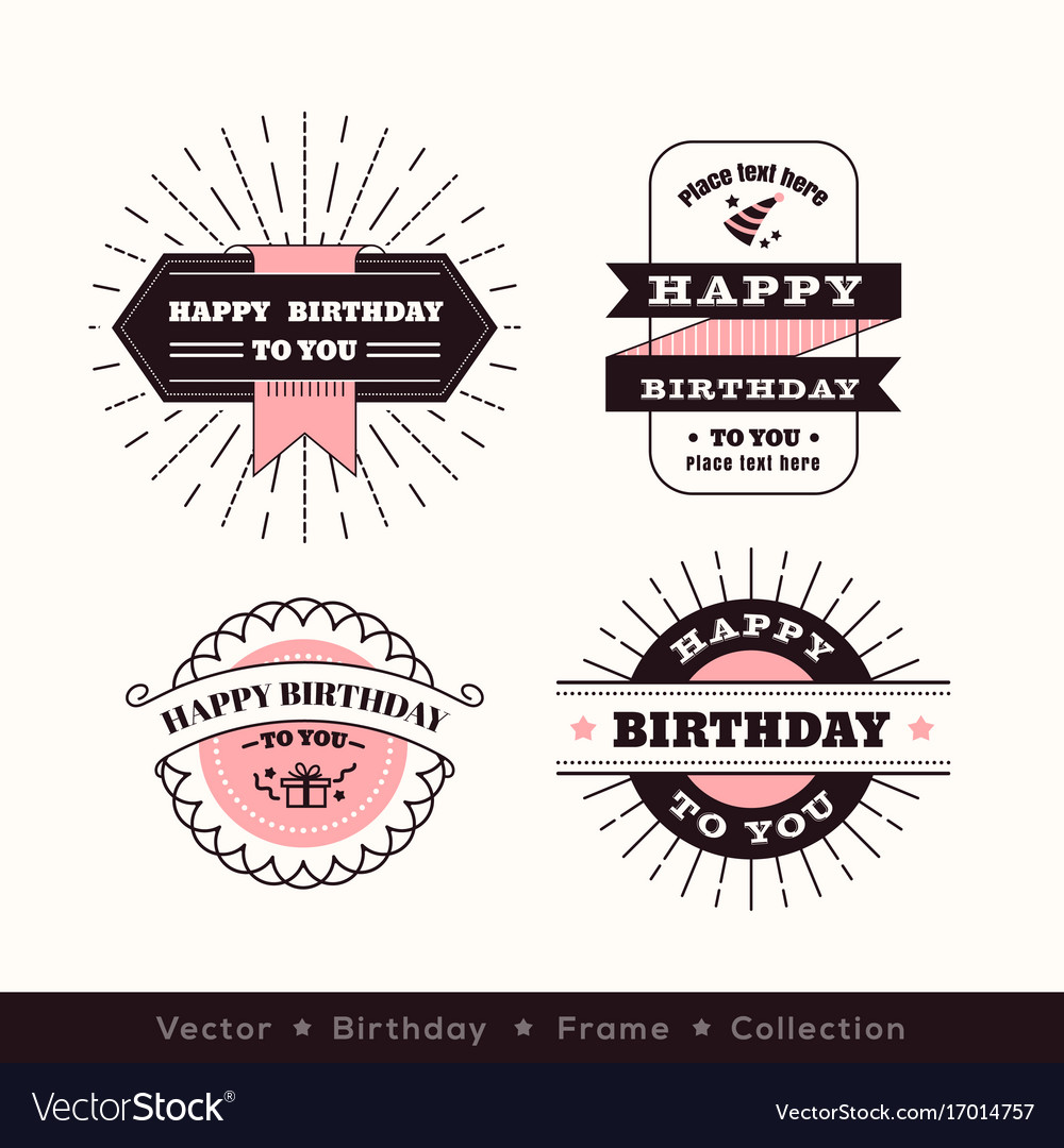 Birthday logo frame design element Royalty Free Vector Image