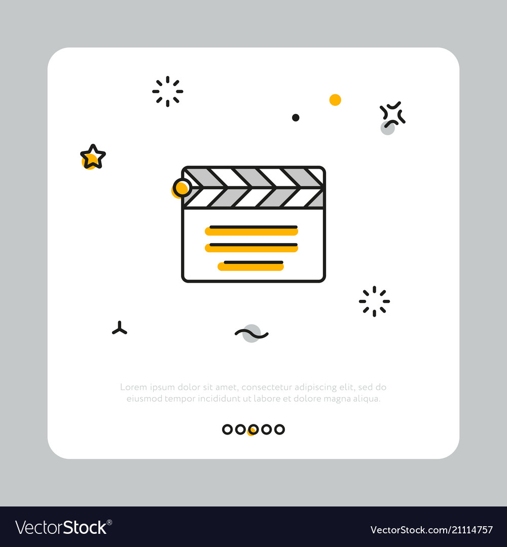 Clapperboard icon on white square