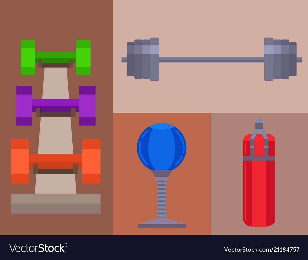 Fitness gym sporty club icons athlet and