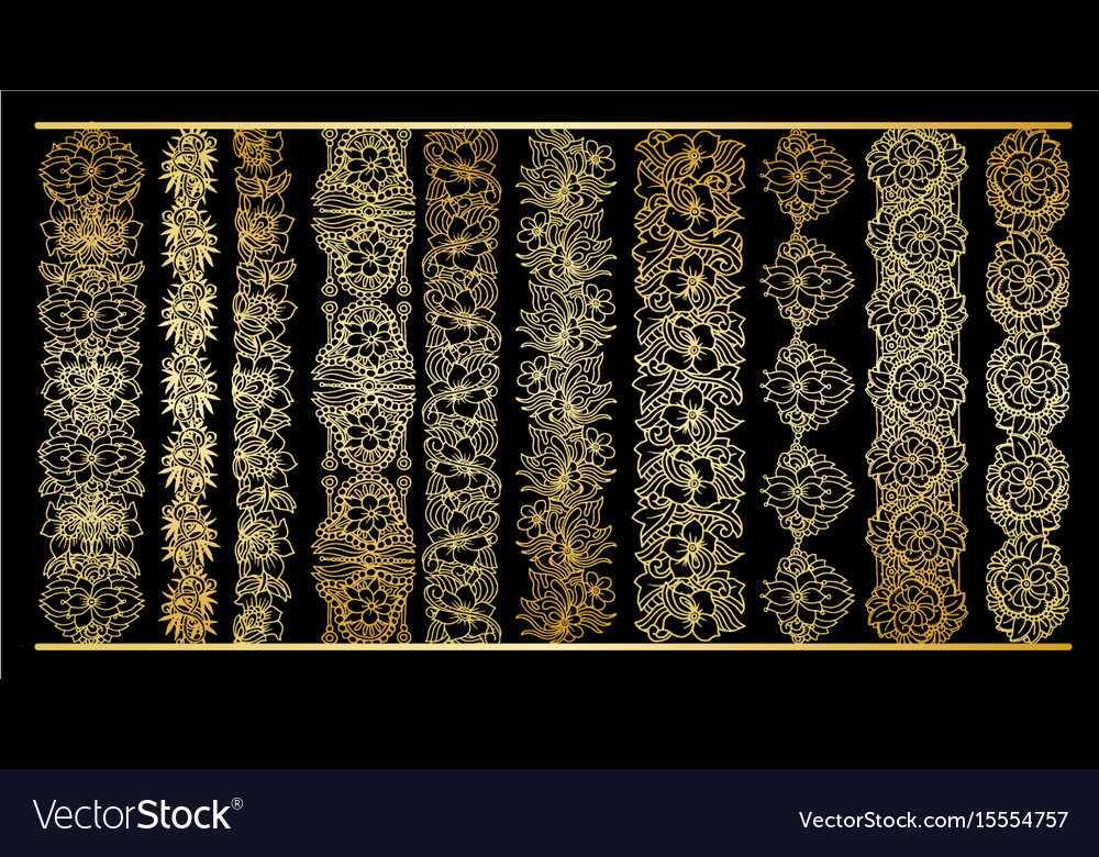 Golden vertical borders collection floral gold