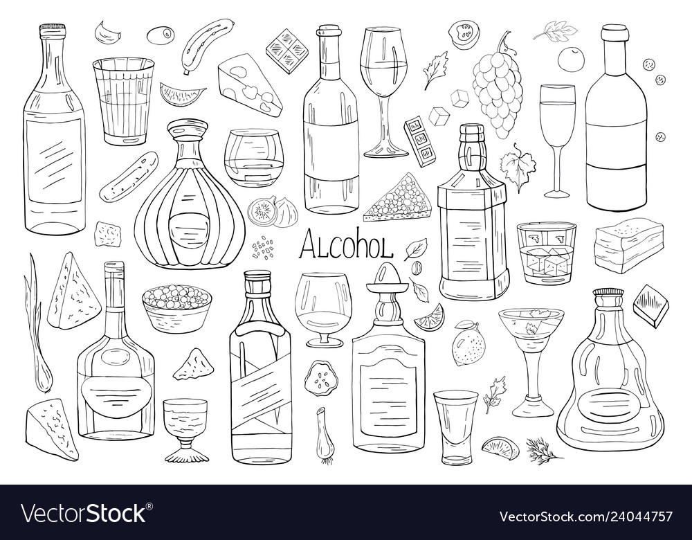 Hand drawn big set of alcohol elements isolated