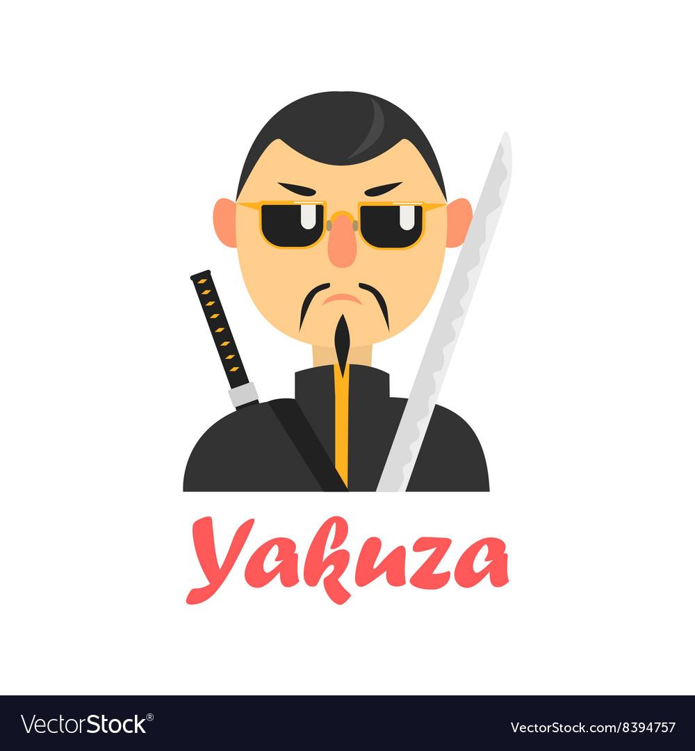 Japaneese Yakuza Cartoon Style Icon vector image