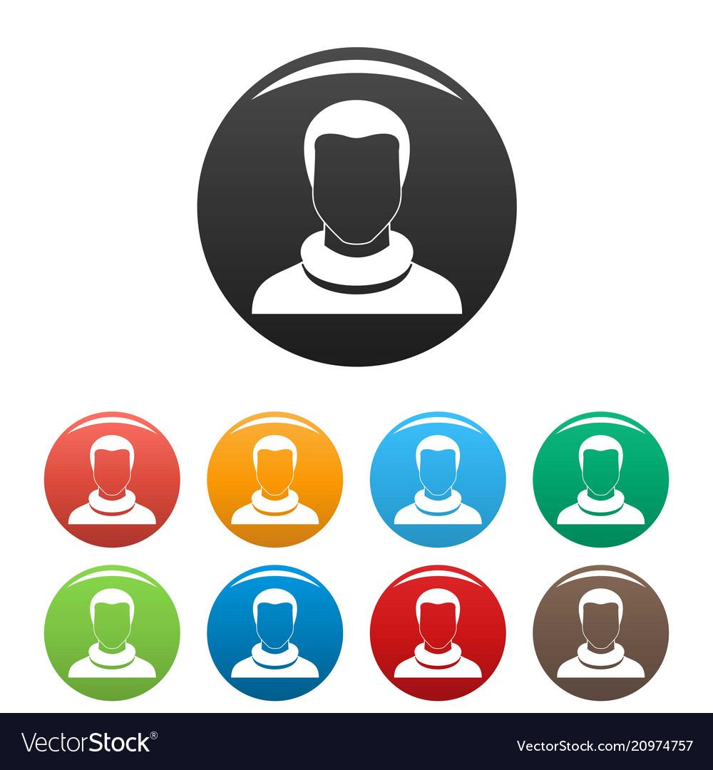 Man avatar icons set color
