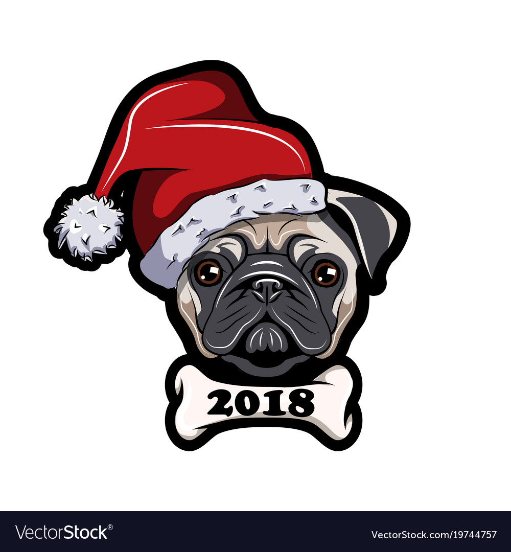 Pug in santa hat dog new year 2018
