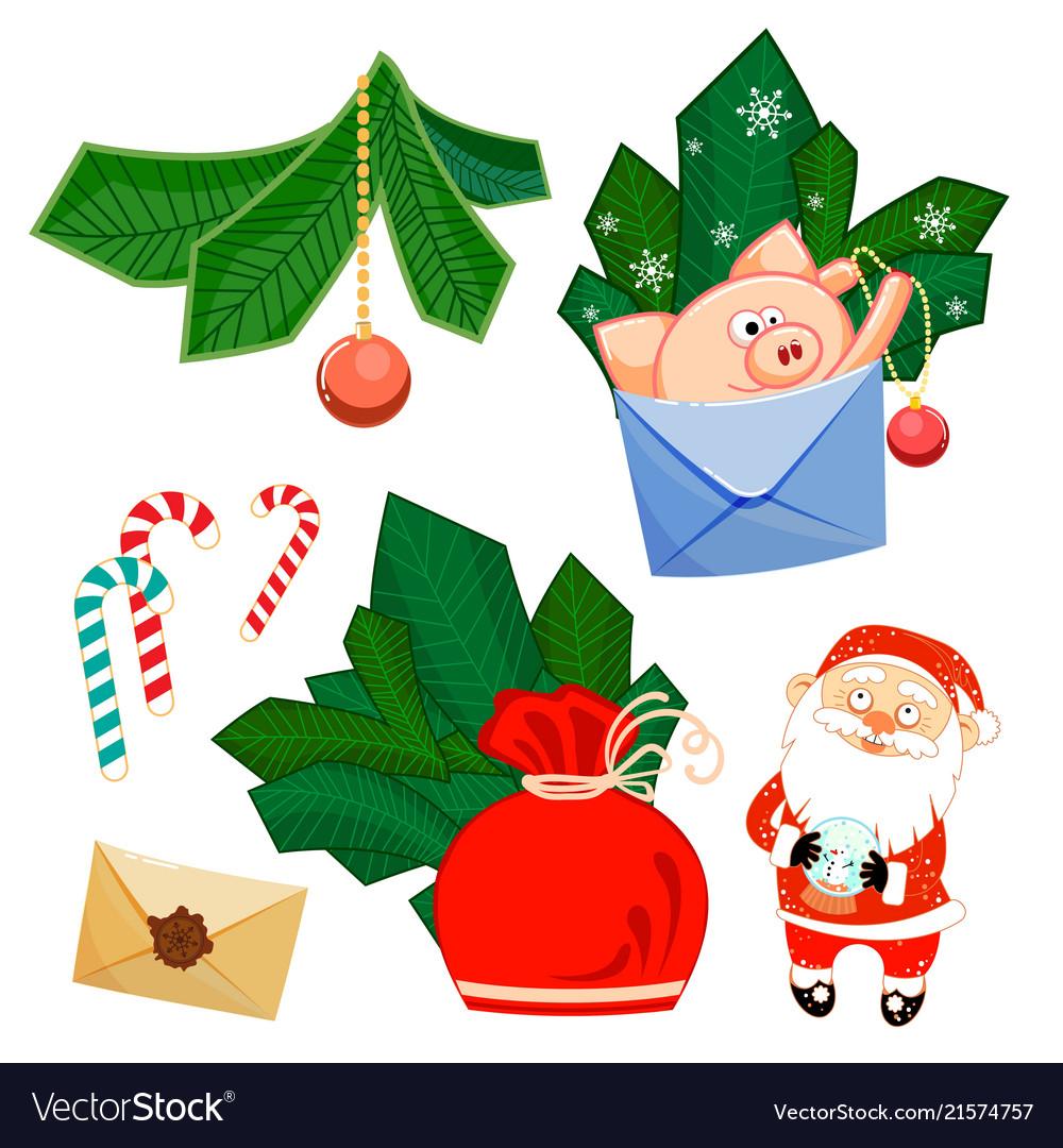 Santa claus and glass ball pig develop bag fir