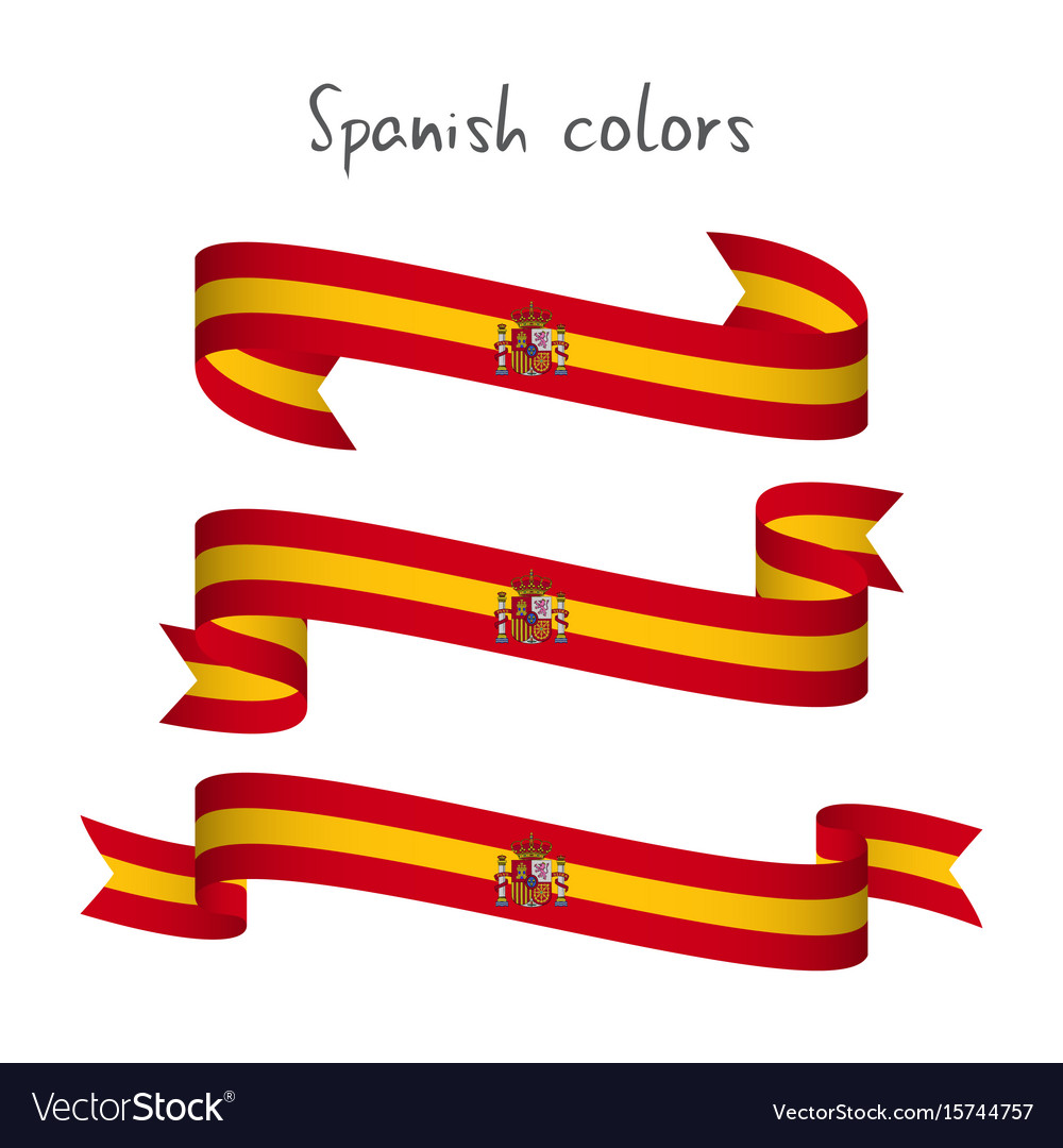 Set of three ribbons with the spanish colors vector image