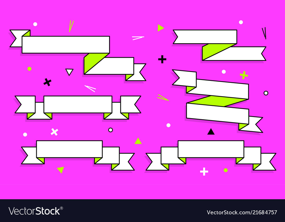 Set of trendy flat geometric ribbons vivid