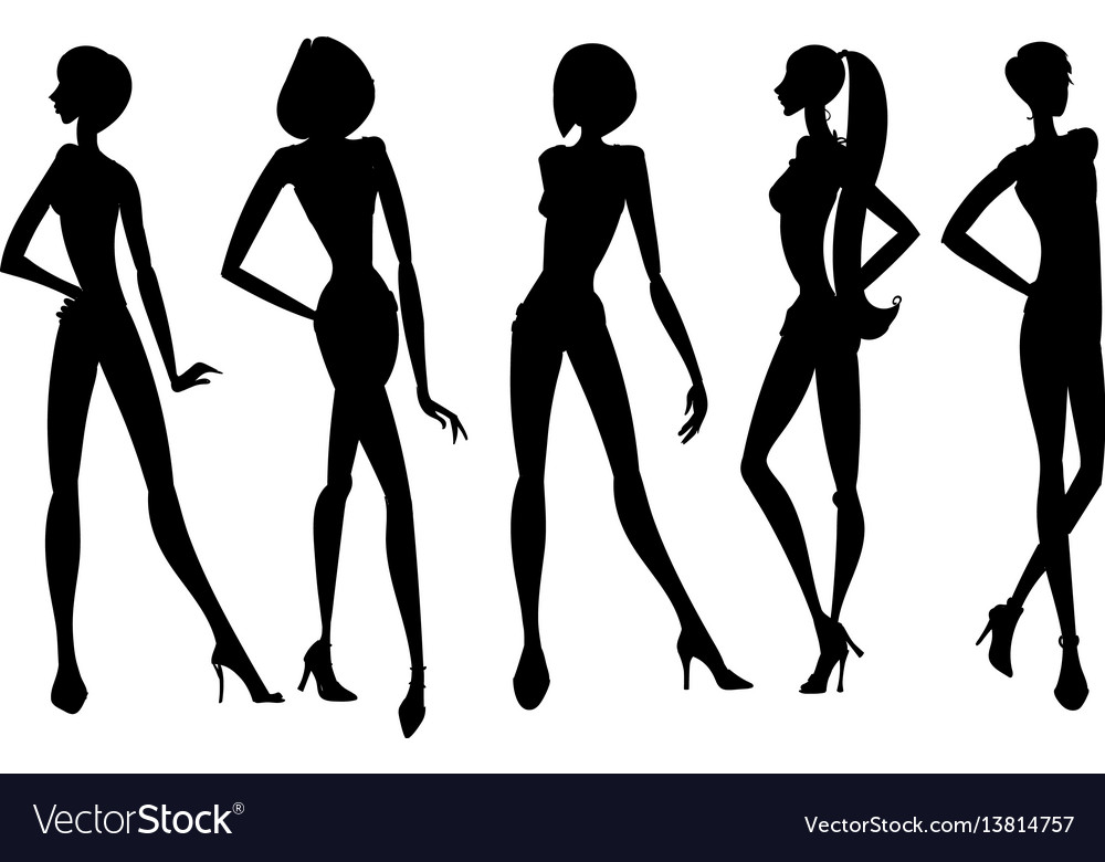 Set of young girls silhouettes posing with hand on