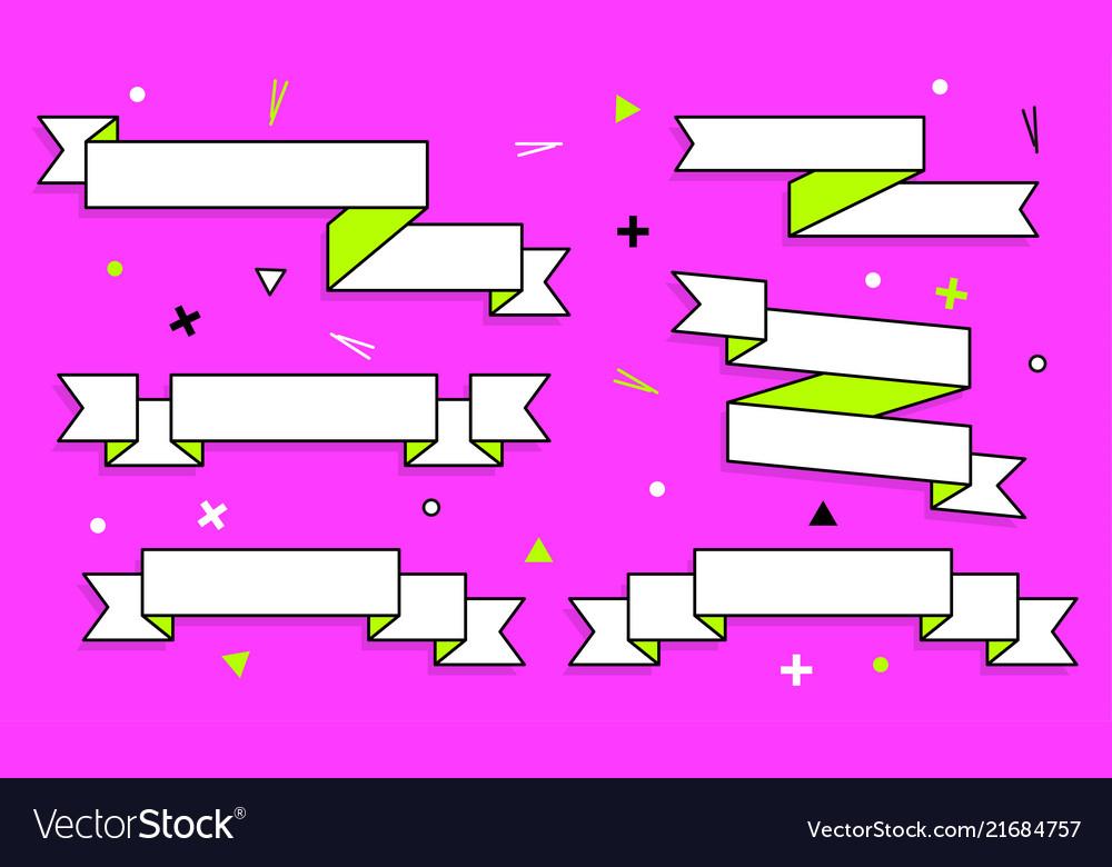 Set trendy flat geometric ribbons vivid