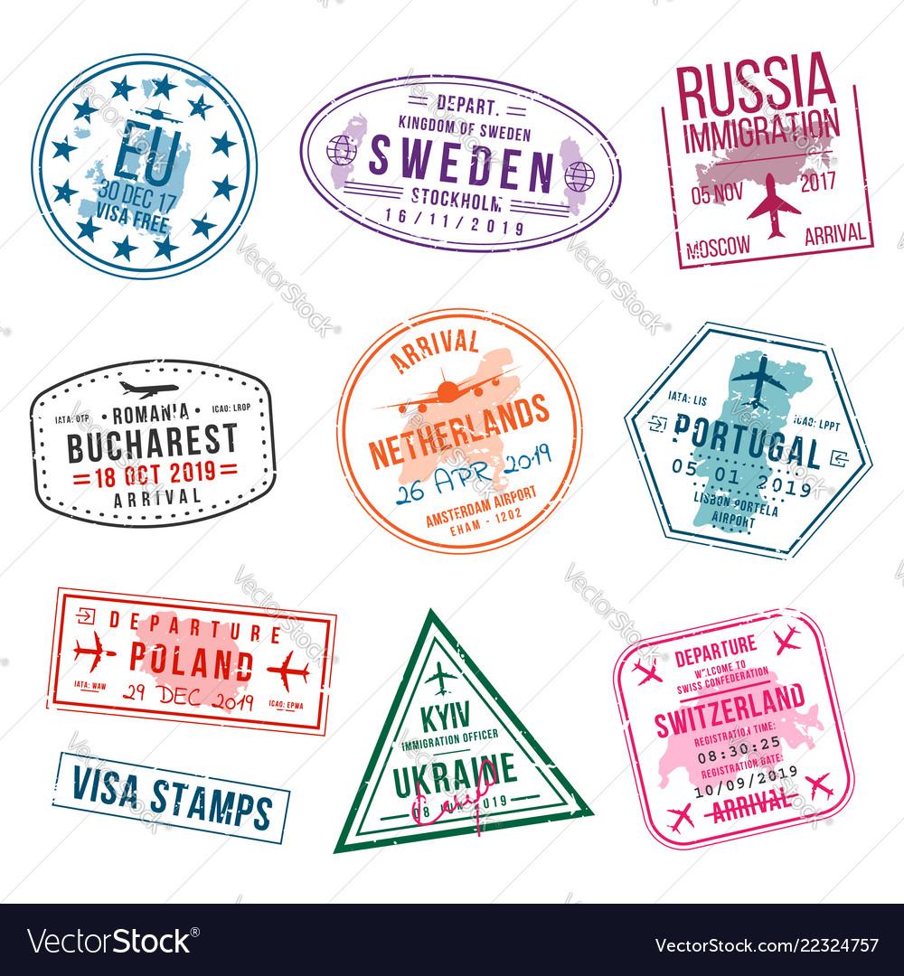 Set visa stamps for passports international