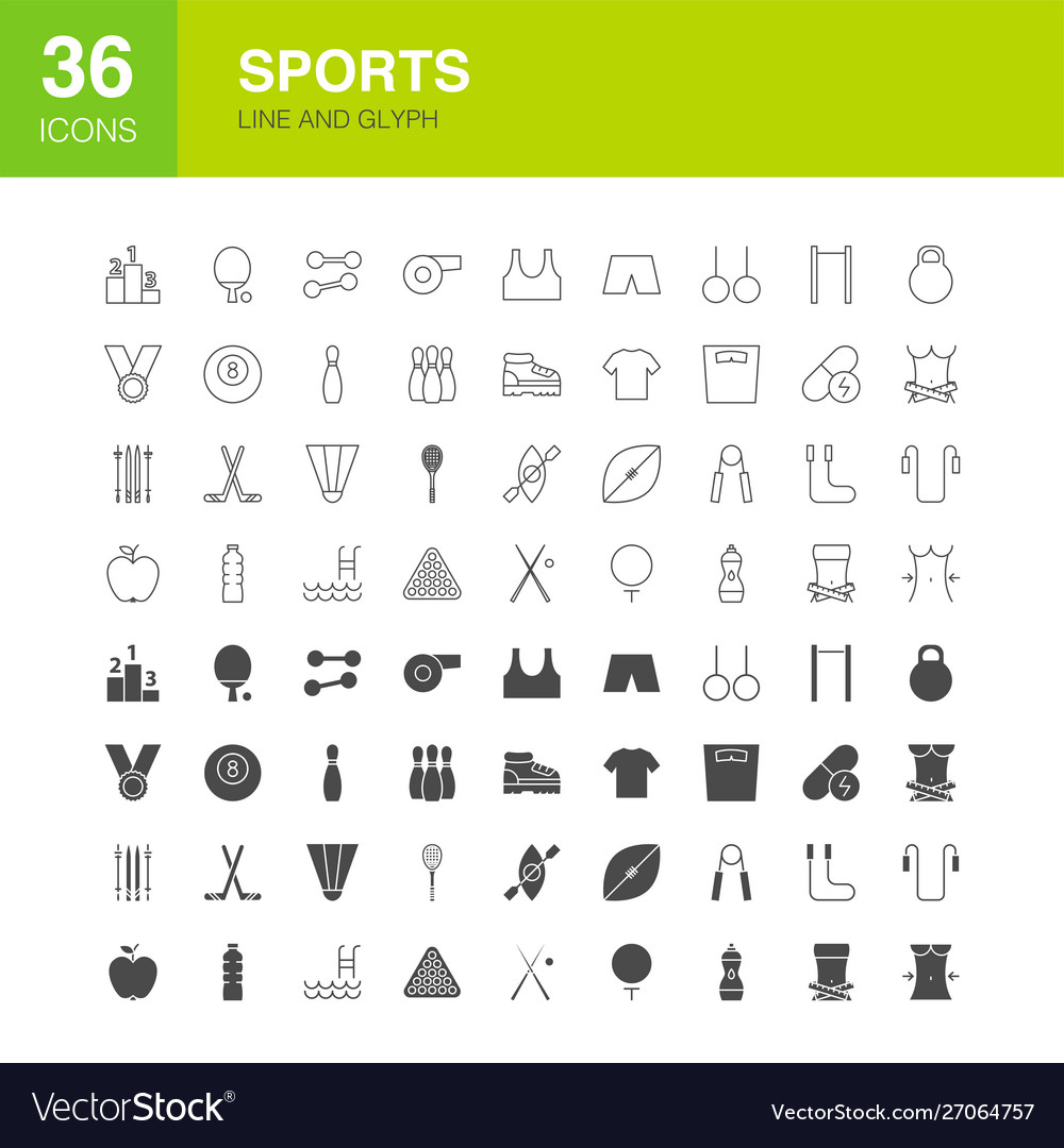 Sports line web glyph icons
