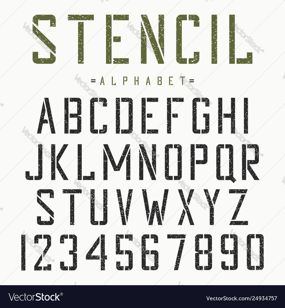 Stencil font alphabet and numbers