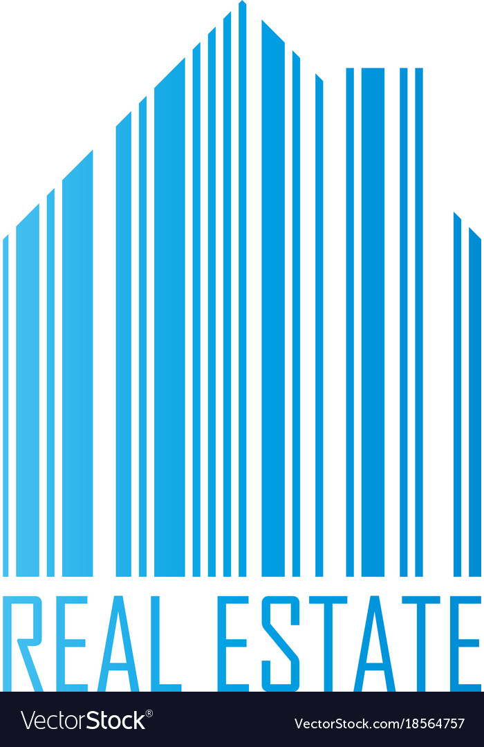 Symbol of house with barcode design and real