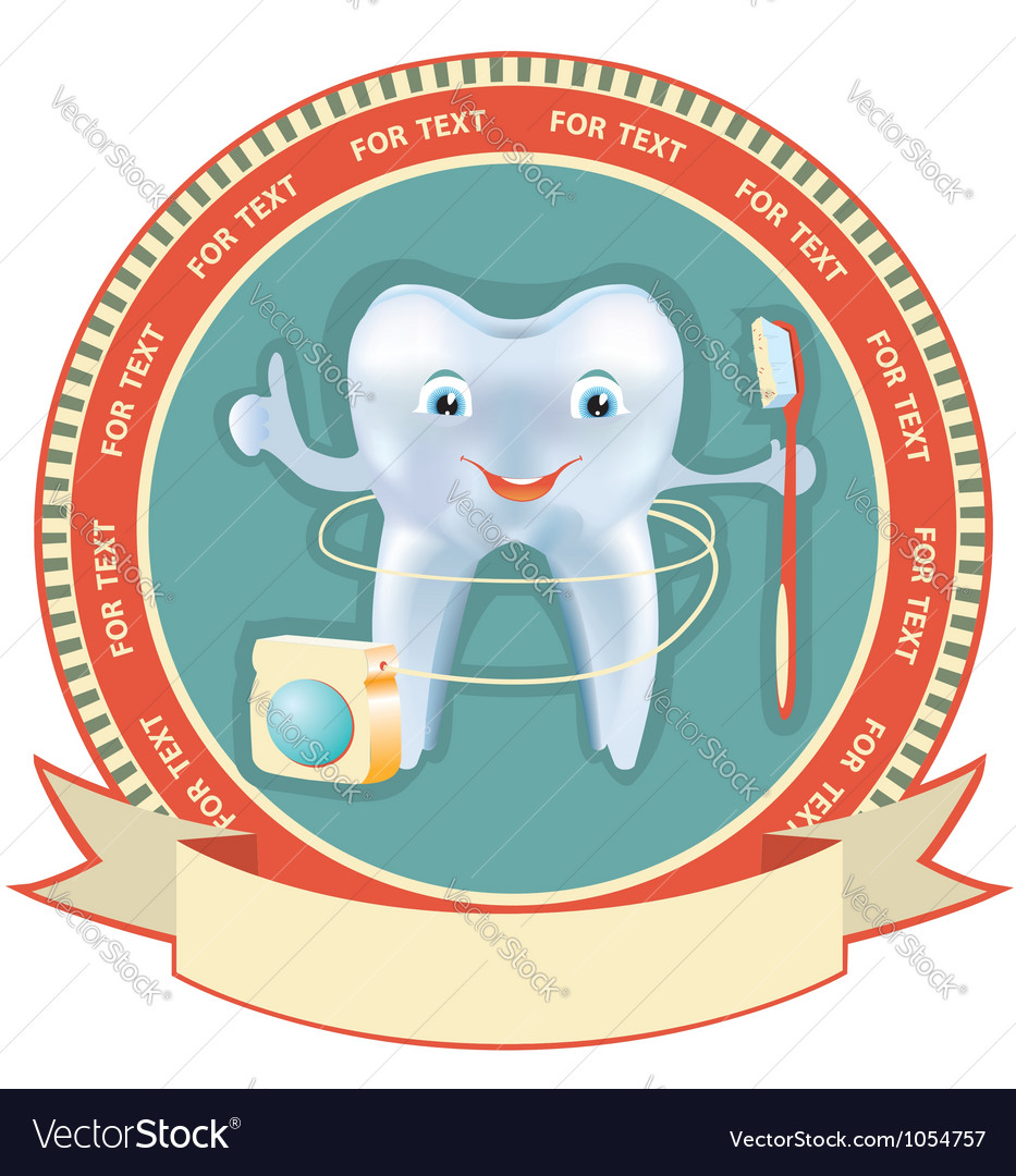 Tooth label set healthy symbol background vector image