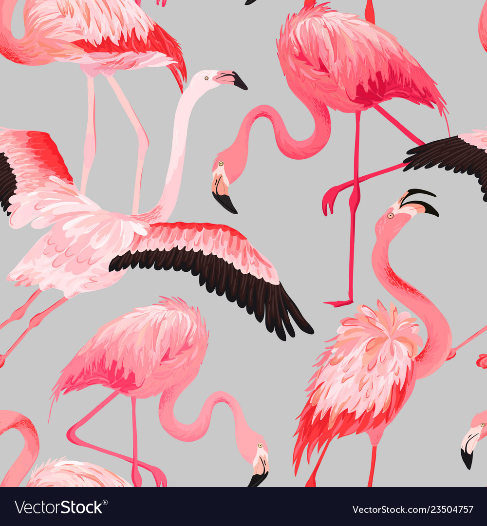 Tropical flamingo seamless summer pattern