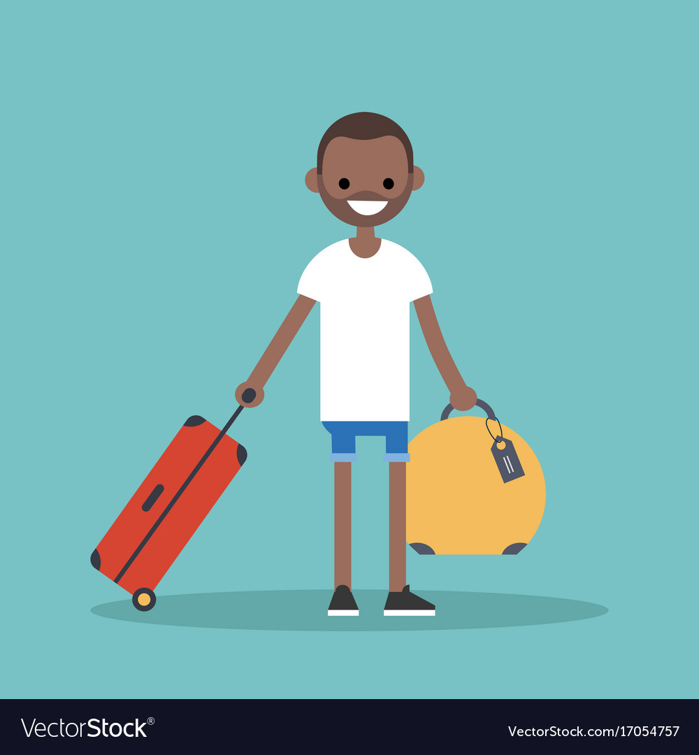 Young black man travelling with his luggage flat