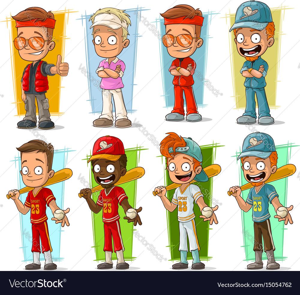 Cartoon sportsmen players characters set