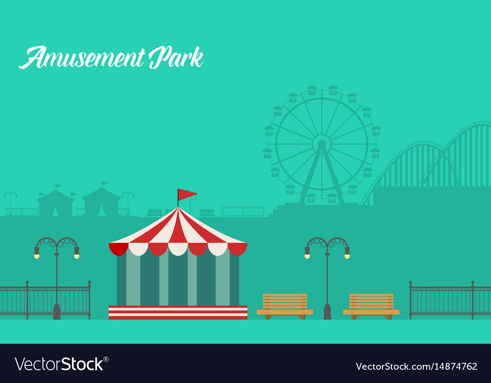 Collection background amusement park scenery vector image