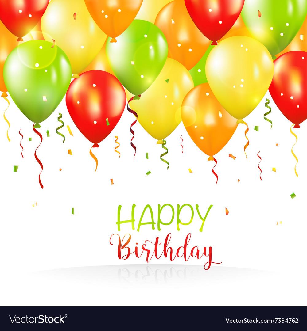 Happy Birthday and Party Balloon Invitation Card Vector Image