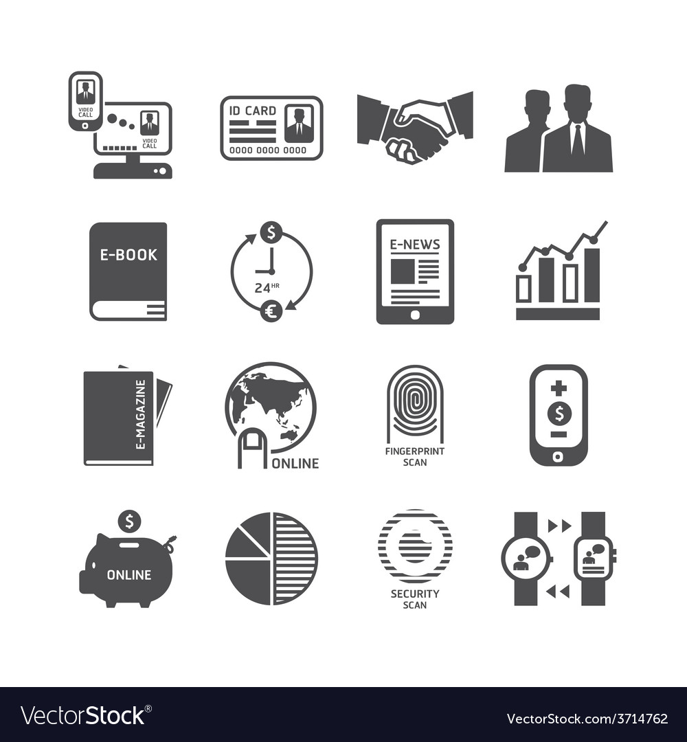 Icons set business technology design