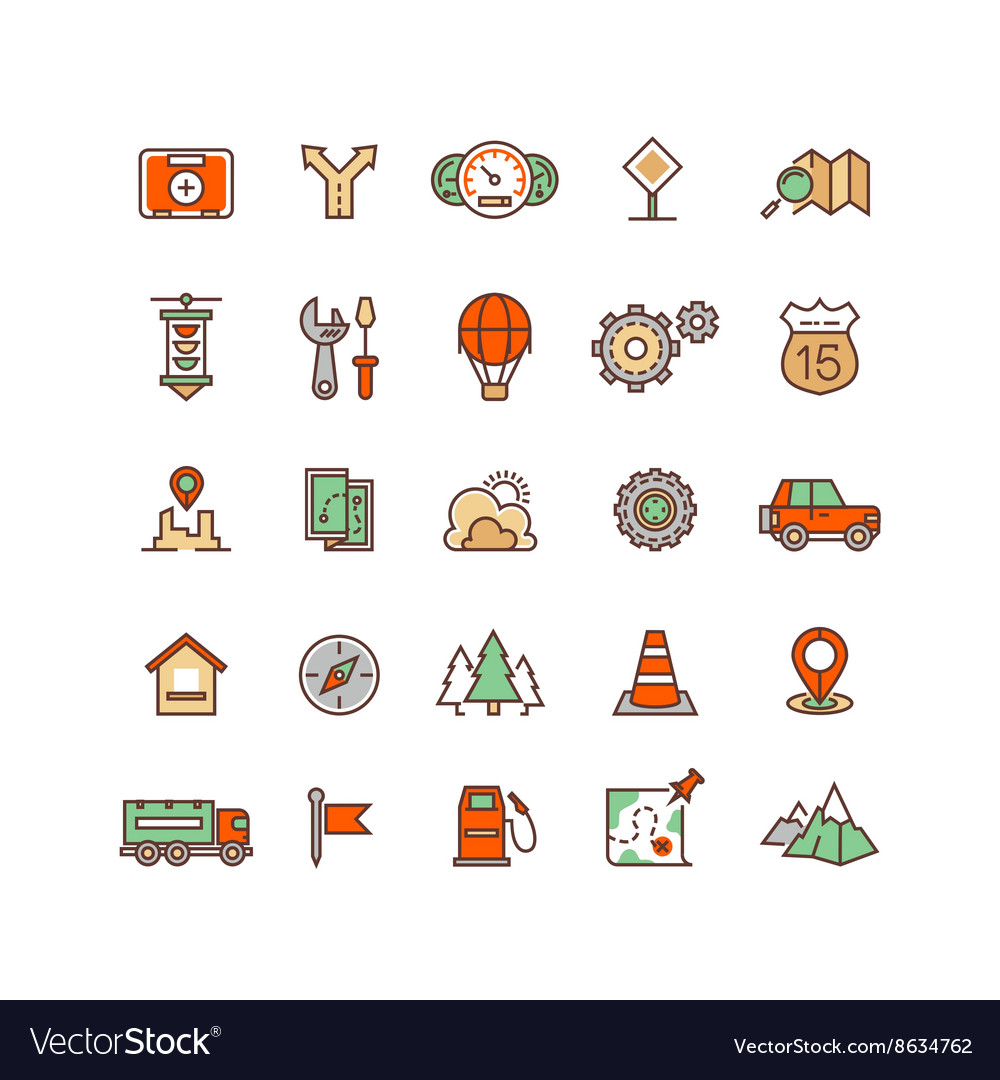 Location and travelling flat icons