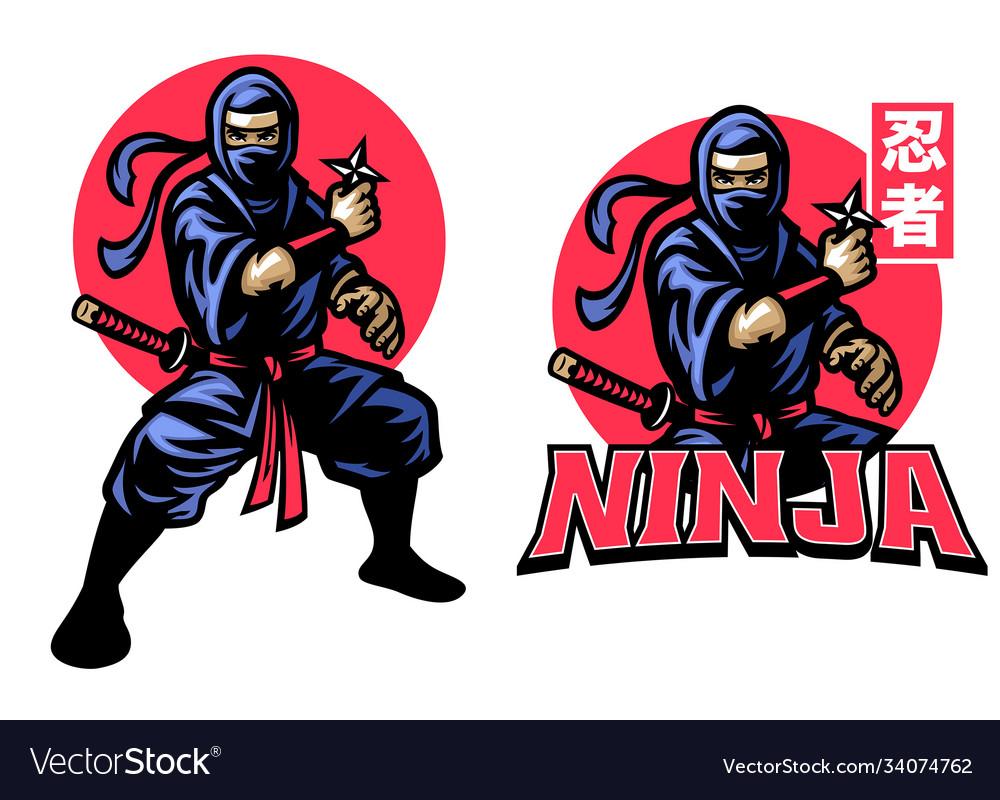 Ninja mascot set hold shuriken star weapon
