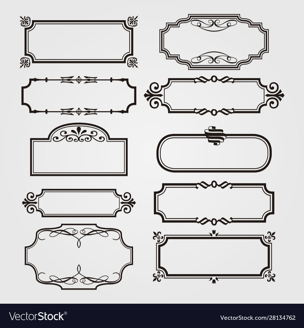 Ornamental frame and ribbons set